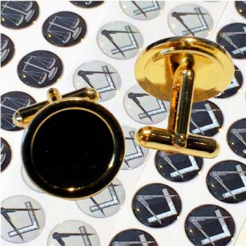 Cufflink Pair Round 16mm gold and printed domes